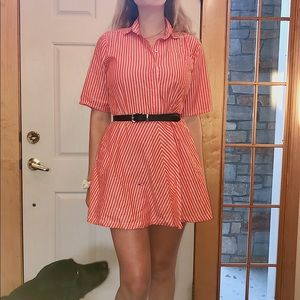 Vintage orange & white striped dress